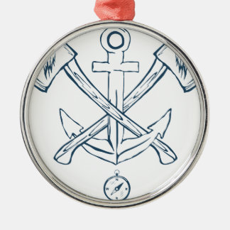 Anchor with crossed axes. Design elements Silver-Colored Round Decoration