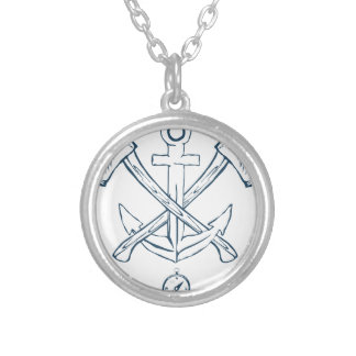 Anchor with crossed axes. Design elements Silver Plated Necklace