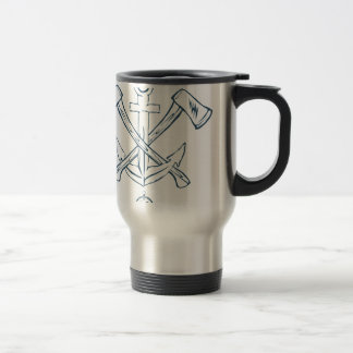 Anchor with crossed axes. Design elements Travel Mug