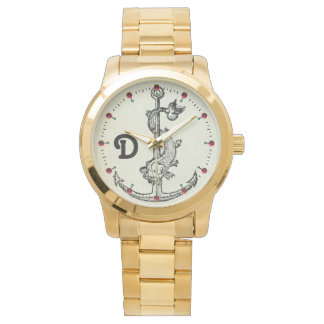 ANCHOR WITH FISH NAUTICAL MONOGRAM WATCH