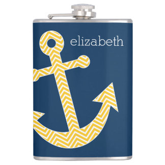 Anchor with Navy Yellow Chevrons Custom Name Hip Flask