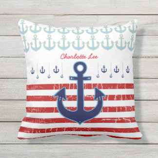 anchor with red stripes, nautical personalized cushion