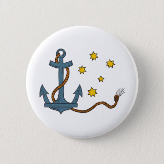 Anchor with Rope and Southern Star Drawing 6 Cm Round Badge