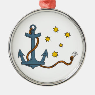 Anchor with Rope and Southern Star Drawing Metal Ornament