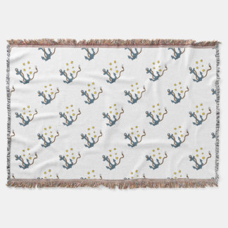 Anchor with Rope and Southern Star Drawing Throw Blanket