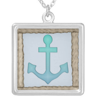 Anchor (with rope border) Sterling Silver Necklace