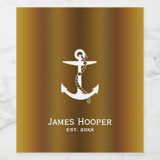 Anchor with Rope | Personalizable Nautical Gifts Wine Label