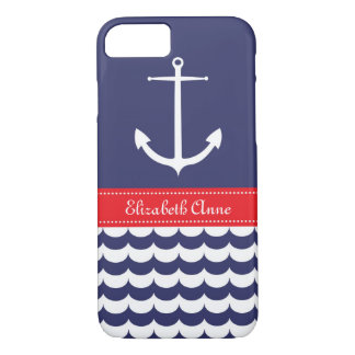 Anchor with Waves and Custom Name in Navy & Red iPhone 8/7 Case