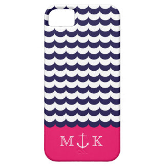 Anchor with Waves and Monogram Navy & Hot Pink iPhone 5 Covers