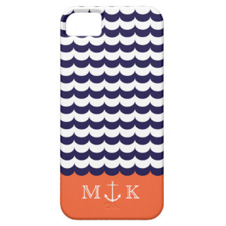 Anchor with Waves and Monogram Navy & Orange iPhone 5 Cases