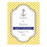 Anchor yellow white nautical wedding Save the Date Postcard