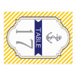 Anchor yellow, white nautical wedding table number postcard