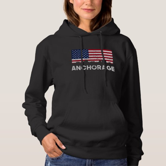 Anchorage AK American Flag Skyline Distressed Hoodie