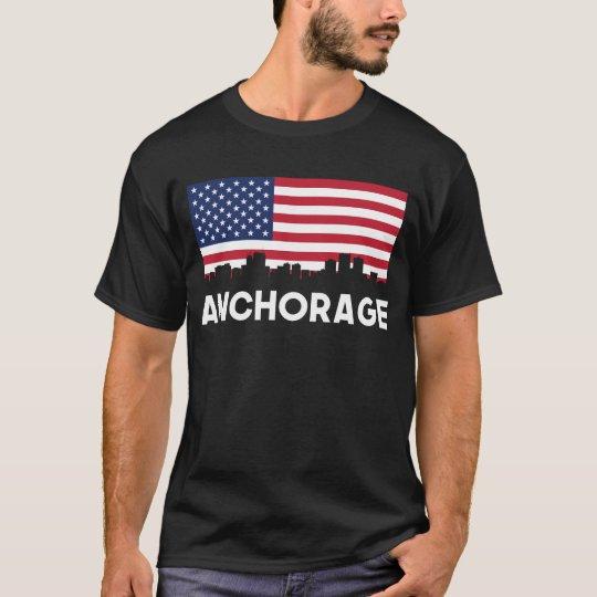 Anchorage AK American Flag Skyline T-Shirt