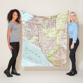 Anchorage Alaska Map (1994) Fleece Blanket