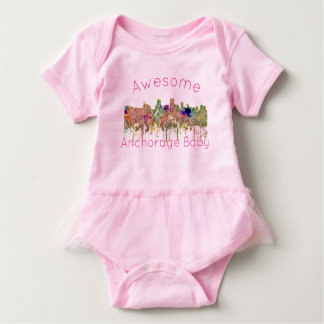 Anchorage Alaska Skyline SG-Faded Glory Baby Bodysuit