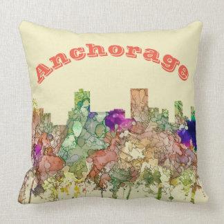 Anchorage Alaska Skyline SG-Faded Glory Cushion