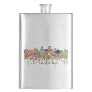 Anchorage Alaska Skyline SG-Faded Glory Hip Flask