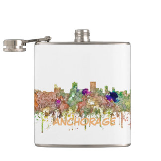 Anchorage Alaska Skyline SG-Faded Glory Hip Flask
