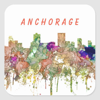 Anchorage Alaska Skyline SG-Faded Glory Square Sticker