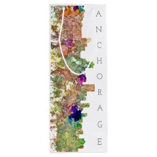 Anchorage, Alaska Skyline SG-Faded Glory Wine Gift Bag