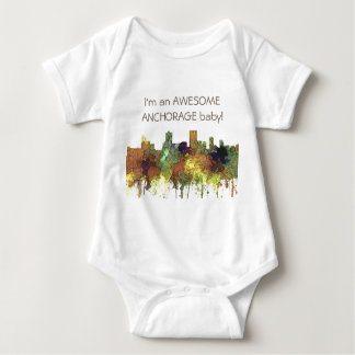 Anchorage, Alaska Skyline - SG - Safari Buff Baby Bodysuit