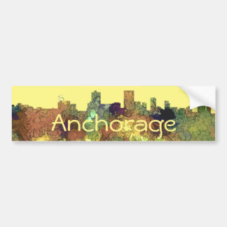 Anchorage, Alaska Skyline - SG Safari Buff Bumper Sticker