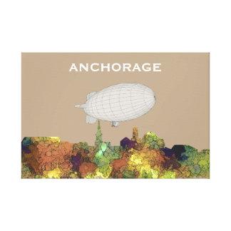 Anchorage, Alaska Skyline - SG - Safari Buff Canvas Print