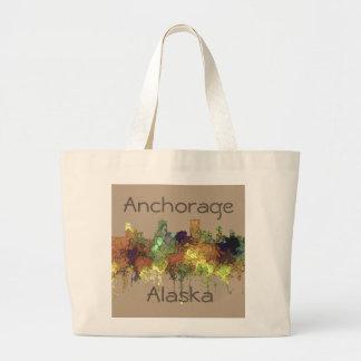 Anchorage, Alaska Skyline - SG - Safari Buff Large Tote Bag