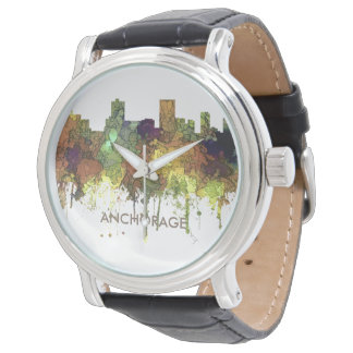 Anchorage, Alaska Skyline - SG - Safari Buff Wristwatches