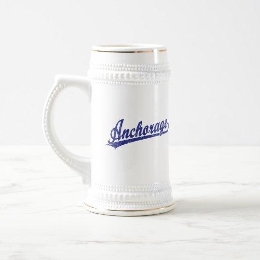 Anchorage script logo in blue coffee mug