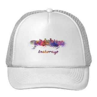 Anchorage skyline in watercolor cap
