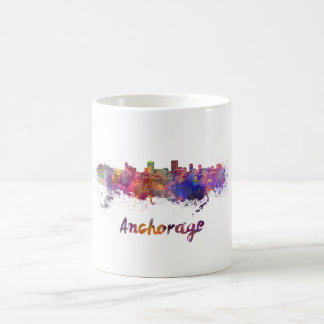 Anchorage skyline in watercolor coffee mug