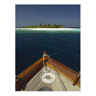 Anchored Boat Approaching Island Postcard