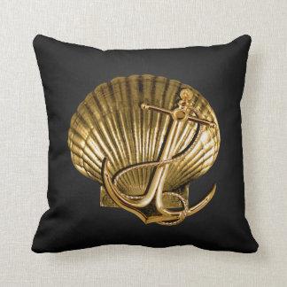 Anchored Seashell Nautical | black & gold Throw Pillow