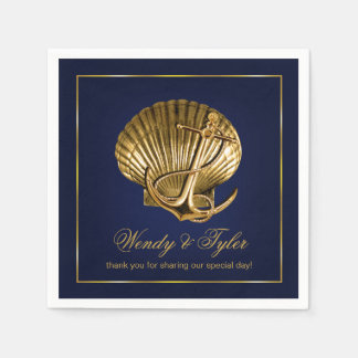 Anchored Seashell Nautical Cocktail Party   navy Paper Napkin