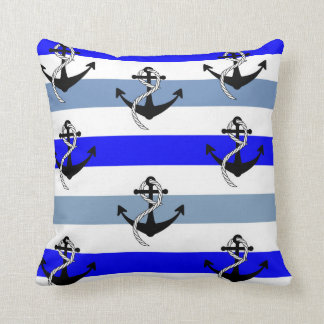 Anchors and Stripes Throw Pillow
