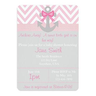 Anchors Away Girl Baby Shower Card