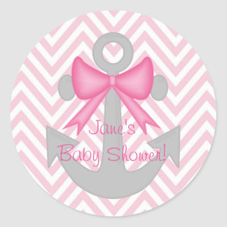 Anchors Away Girl Baby Shower Stickers