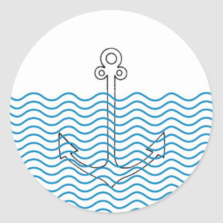 Anchor's Away! Girly Nautical Retro Envelope Seals Round Sticker