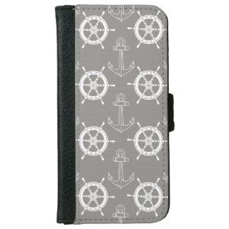 Anchors Away Grey iPhone Wallet Case