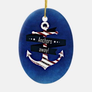 Anchors Away Nautical Print Ceramic Ornament