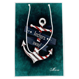 Anchors Away Print Nautical Anchor Monogram Medium Gift Bag
