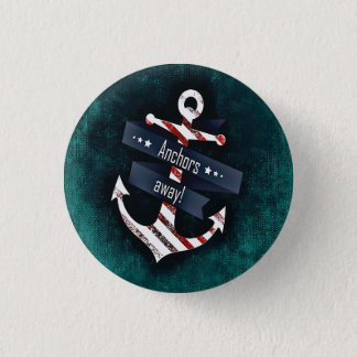 Anchors Away Print Red White Nautical Anchor 3 Cm Round Badge