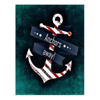 Anchors Away Print Red White Nautical Anchor Postcard