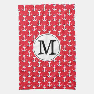 Anchors Away! Red Custom Monogrammed Golf Bag Tea Towel