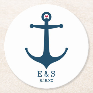 Anchors Away Round Paper Coaster