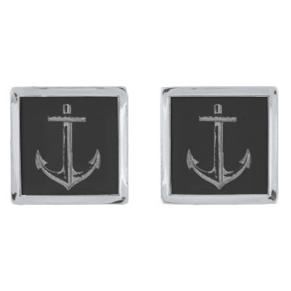 Anchors aweigh cufflinks, square silver finish cufflinks