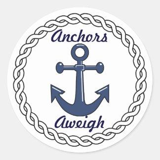 Anchors Aweigh Envelope Seals Round Sticker