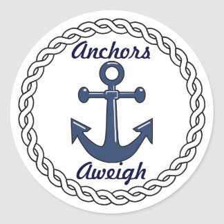 Anchors Aweigh Envelope Seals Round Sticker